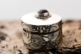 Sterling silver pill box with flowers