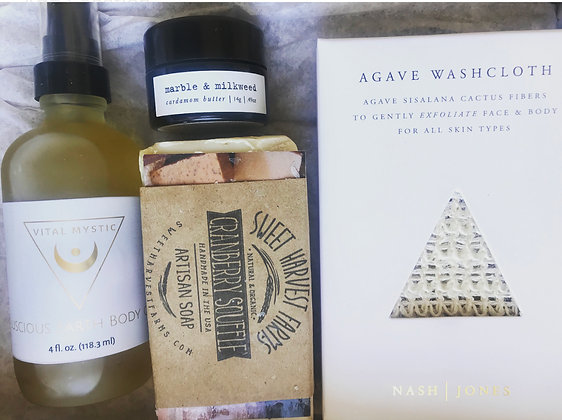 Holiday Box- Body Soap, Agave Exfoliating Cloth, Body Oil, Body Butter