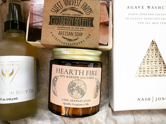 Holiday Box- Body Soap, Agave Exfoliating Cloth, Body Oil, Candle