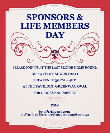Sponsor and Life Member Day Invitation 2021