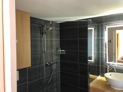 Modern Walk In Shower with underfloo