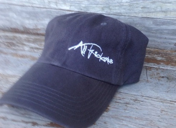 Charcoal with White Stitching Unstructured Cap - Mathew 4:19 on back