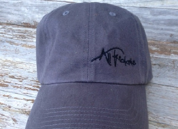Charcoal with Black Stitching Unstructured Cap - Mathew 4:19 on back