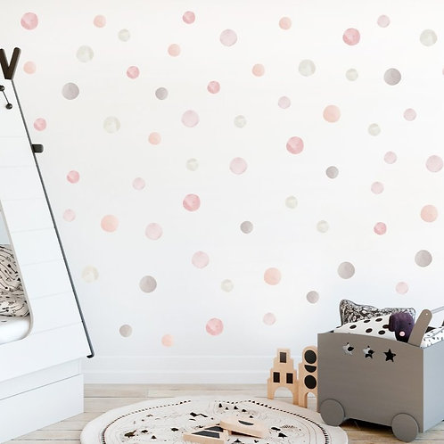 Watercolour Dots Fabric Wall Decal (Autumn)