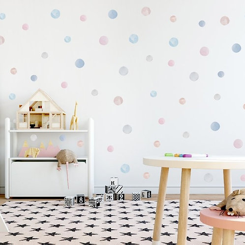 Watercolour Dots Fabric Wall Decal (Cotton Candy)