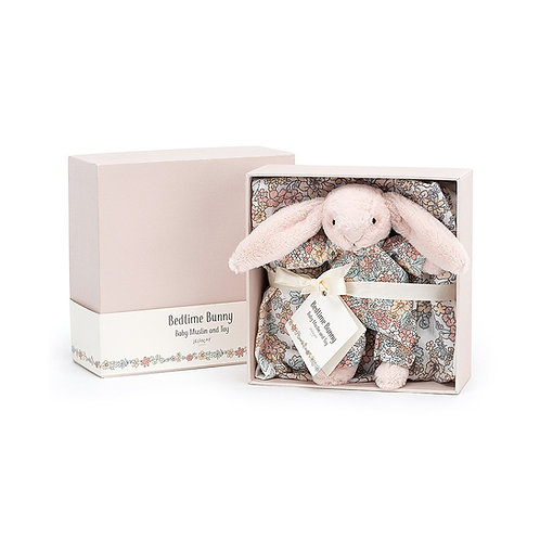 Bedtime Blossom Bunny Gift Set: Muslin & Toy