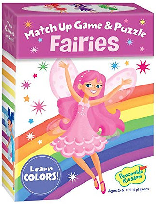 Peaceable Kingdom Fairies 24 Card Color Match Up Memory Game and Floor Puzzle