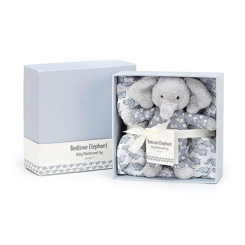 Bedtime Elephant Gift Set: Muslin & Toy