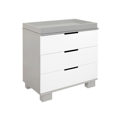 (In Stock) Modo 3-Drawer Dresser with Removable Changing Tray (Grey/White)