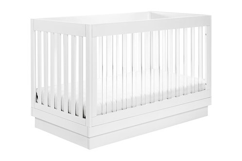 Harlow Acrylic 3-in-1 Convertible Crib with Toddler Bed Conversion Kit (White)