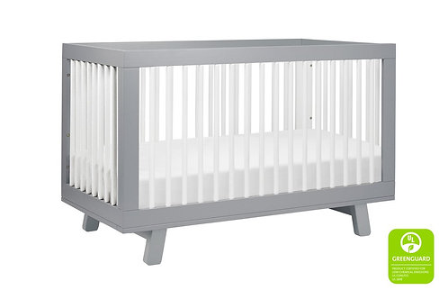 Hudson 3-in-1 Convertible Crib (Grey/White)