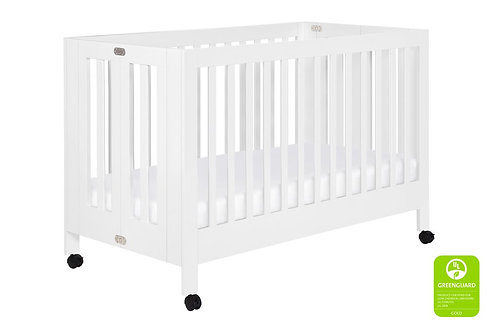 Maki Full-Size Portable 2-in-1 Folding Crib (White)