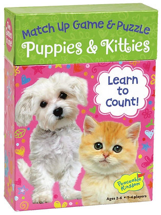 Peaceable Kingdom Puppies & Kitties 24 Card Number Match Up Memory Game