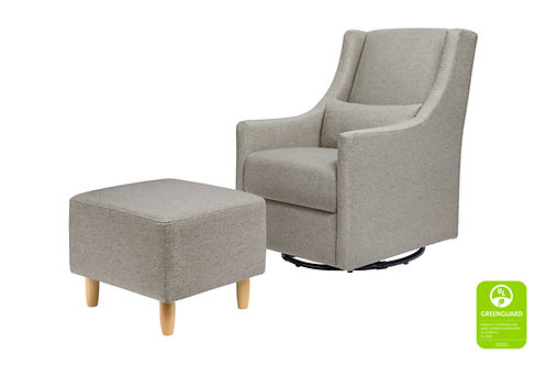 (In Stock) Toco Swivel Glider and Ottoman in Eco-Performance Fabric (Grey)