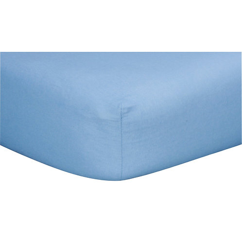 Blue Cotton Flannel Fitted Crib Sheet