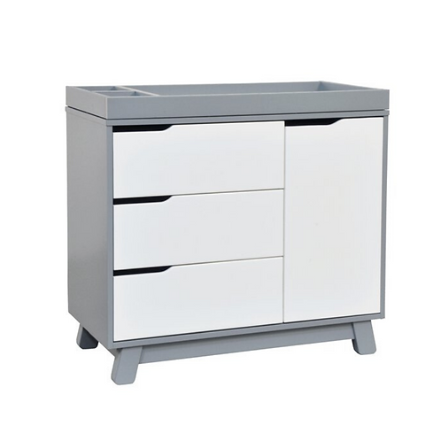 (In Stock) Hudson 3-Drawer Dresser with Removable Changing Tray (Grey/White)