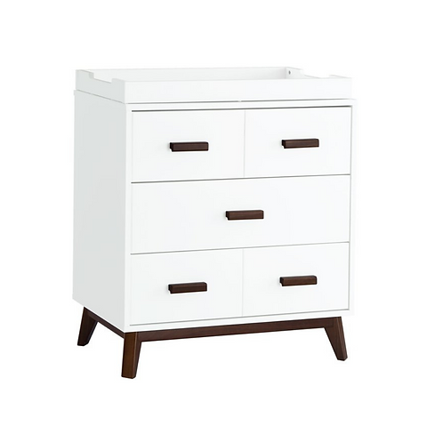 (In Stock) Scoot 3-Drawer Dresser with Removable Changing Tray (White/Walnut)
