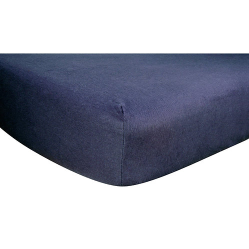Navy Cotton Flannel Fitted Crib Sheet
