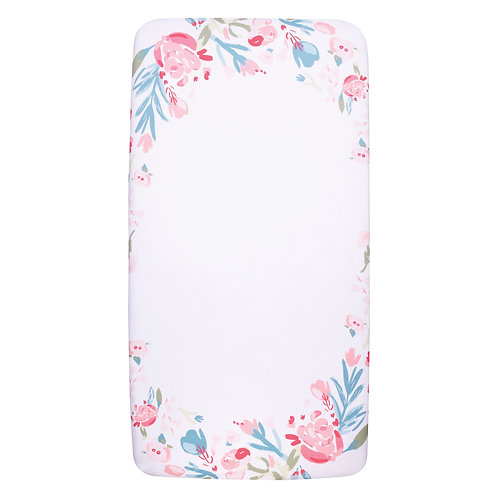 Floral Cotton Flannel Fitted Crib Sheet
