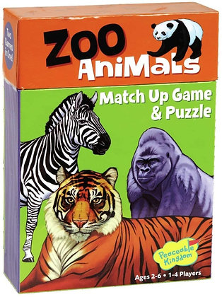 Peaceable Kingdom Zoo Animals 24 Card Match Up Memory Game and Floor Puzzle