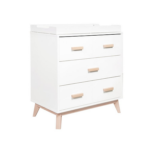 Scoot 3-Drawer Dresser with Removable Changing Tray (White/Washed)