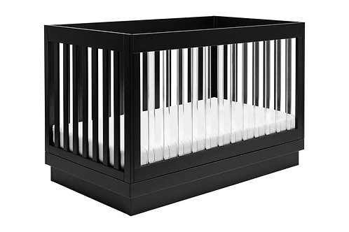 Harlow Acrylic 3-in-1 Convertible Crib with Toddler Bed Conversion Kit (Black)