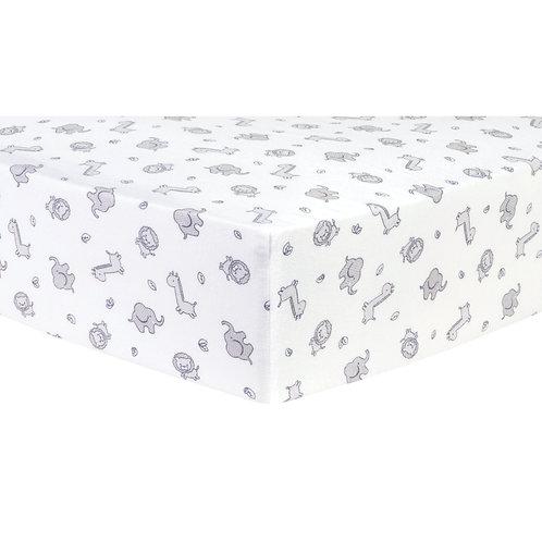 Safari Cotton Flannel Fitted Crib Sheet