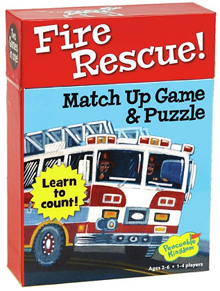 Peaceable Kingdom Fire Rescue! 24 Card Number Match Up Memory Game