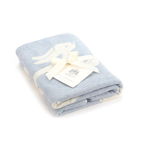 Blue Bashful Bunny Blanket