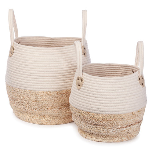 Kori Basket - Set of 2 (White/Natural)