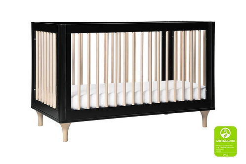 (In Stock) Lolly 3-in-1 Convertible Crib (Black/Washed)