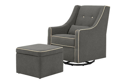 (In Stock) Owen Glider and Ottoman (Dark Grey with Cream Piping)