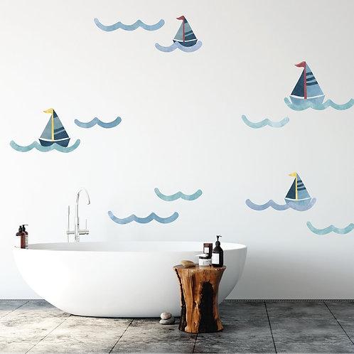 Nautical Wave Fabric Wall Decal