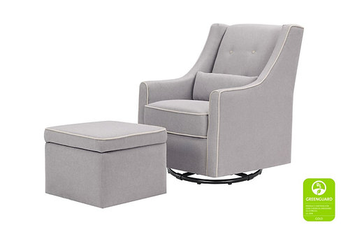 Owen Glider and Ottoman (Grey with Cream Piping)
