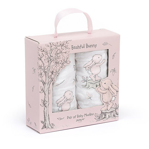 Bashful Pink Bunny Pair Of Muslins