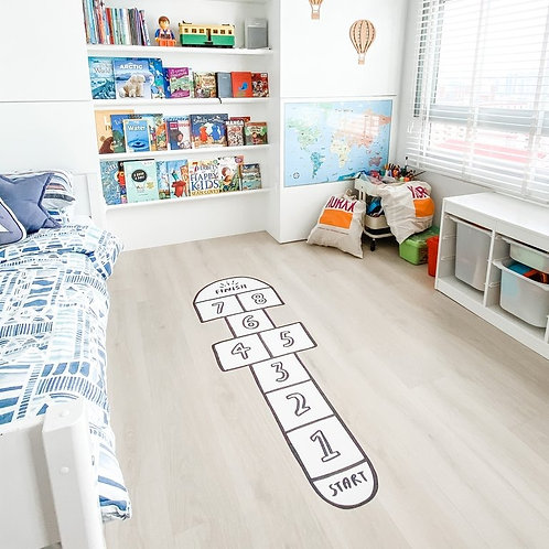 Hopscotch Fabric Floor Decal (White)