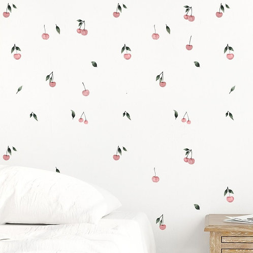 (In Stock) Watercolor Cherries Wall Decal