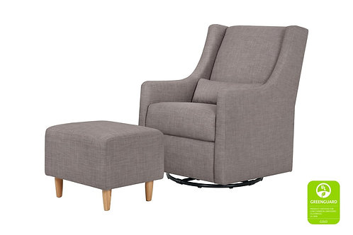 (In Stock) Toco Swivel Glider and Ottoman (Grey Tweed)