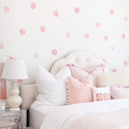 (In Stock) Watercolor Polka Dots Wall Decal (Coral)