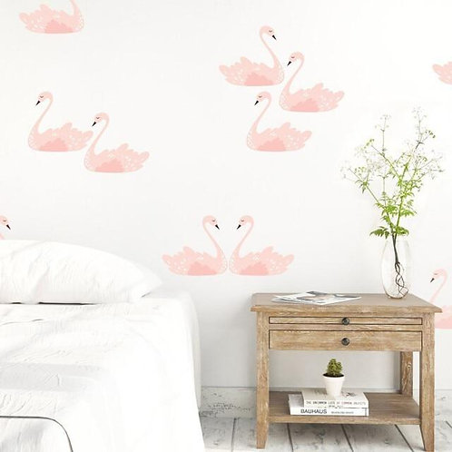 Pink Swans Wall Decal