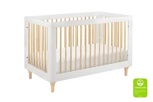 (In Stock) Lolly 3-in-1 Convertible Crib (White/Natural)