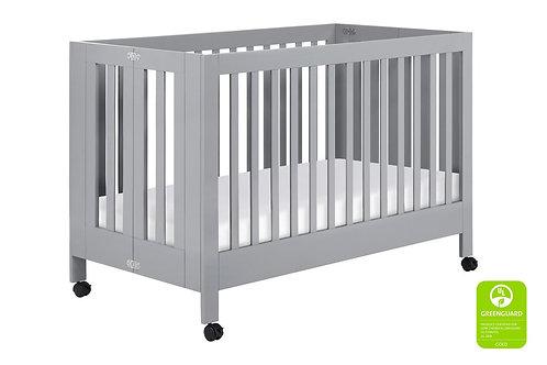 (In Stock) Maki Full-Size Portable 2-in-1 Folding Crib (Grey)