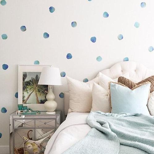 Watercolor Polka Dots Wall Decal (Blue)
