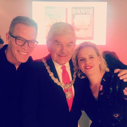 Met burgemeester Jan van Zanen en CEO Albert Arp, tijdens de lancering van het nieuwe logo de Jaarbeurs.