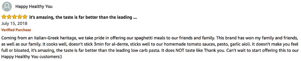 Healthy Noodles 5 Star Amazon Review