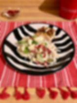Creamy cauliflower spaghetti with zucchini and sun-dried tomatoes