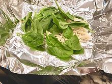 Spinach and Noodle in tin foil