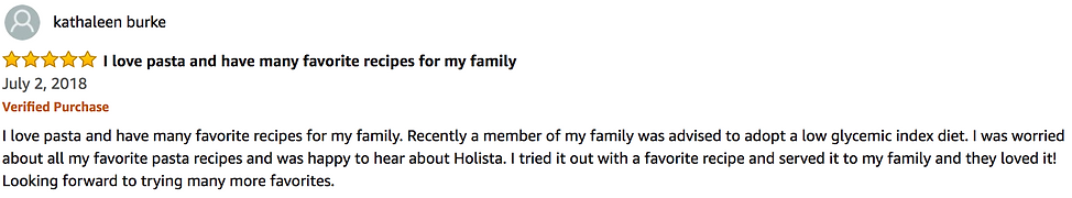 5 Stars Amazon Review for Holista Low Glycemic Spaghetti