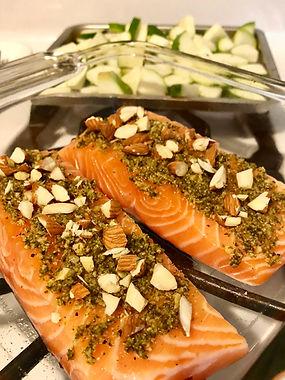 almond pesto salmon recipe