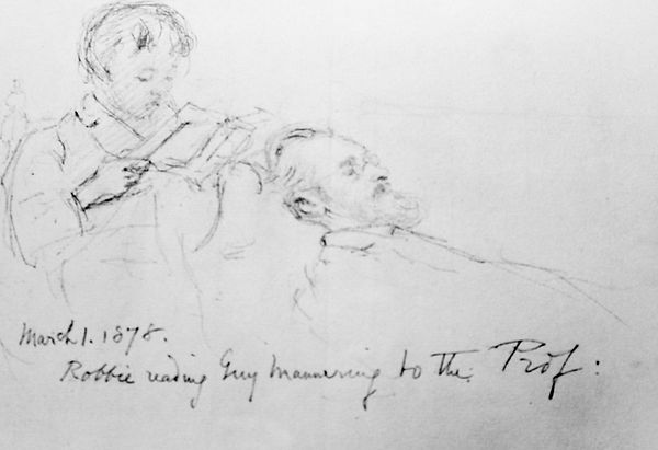 Pencil sketch of 1878 by John Henry Lorimer of 'Robbie [Sir Robert Lorimer] reading Guy Mannering to the Prof'. Private Collection